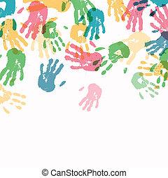 nyomtatványok, vektor, háttér, színes, kéz