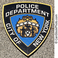 NYPD emblem on fallen officers memorial in Brooklyn, NY. 71...