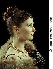 nypremiär, kvinna, retro, portrait.
