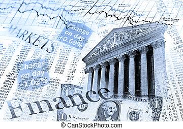 nyse, 股票索引, 以及, 匯率, 桌子