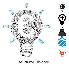 nyskapande, lucka, collage, vektor, ikon, euro