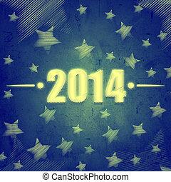 nytt år, 2014, över, blå, retro, bakgrund, med, stjärnor