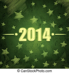 nytt år, 2014, över, grön, retro, bakgrund, med, stjärnor