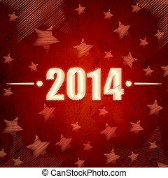 nytt år, 2014, över, röd, retro, bakgrund, med, stjärnor