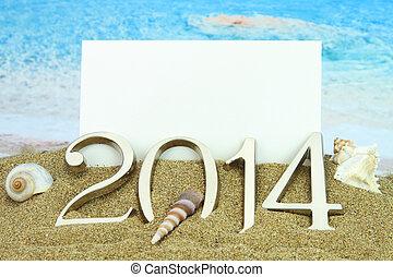 nytt år, 2014, kort, stranden