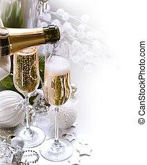 nytt år, celebration.champagne