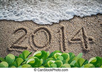 nytt år, med, 2014, writen, stranden