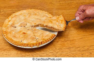 nytt, bakat, hemlagat, äpple tårta