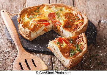 nytt, bakat, pastej, med, feta ost, tomaten, och, örtar,...