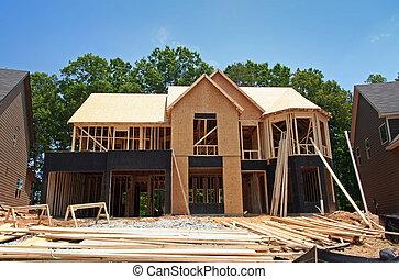 nytt hem, ännu, konstruktion under