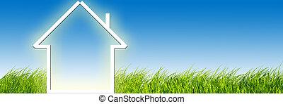 nytt hem, fantasi, på, grön äng