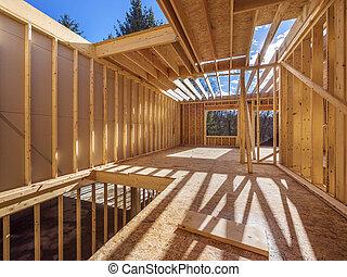 nytt hus, inramning, konstruktion