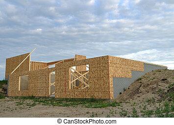 nytt hus, konstruktion, inramat, väggar, av, gå, ute, källarvåning