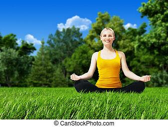 nytt lufta, fitness, -, blondin, på, lea-, fitness, kollektion