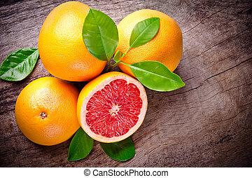 nytt, skördat, grapefrukt, på, trä, bakgrund