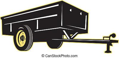 nytta, bil, släpvagn, sida, trädgård