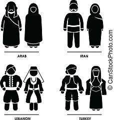 nyugat, ázsia, öltözet, jelmez
