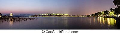 nyugat, waterscape, tó, körképszerű, napnyugta, közben