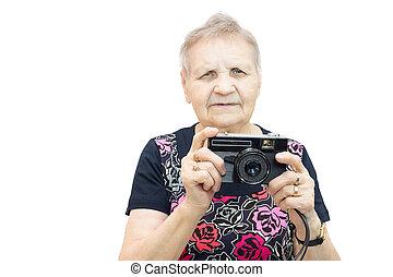 nyugdíjas, fényképezőgép