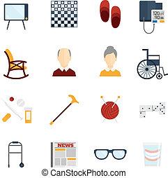 nyugdíjas, lakás, élet, ikonok