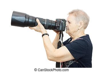 nyugdíjas, noha, egy, fényképezőgép