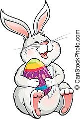 nyuszi, bájos, tojás, húsvét