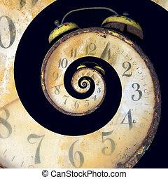 oändlig, gammal, rostig, klocka