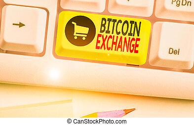 où, commerçants, vendre, business, exchange., marché, showcasing, bitcoins., écriture, boîte, main, achat, bitcoin, conceptuel, photo, projection, numérique