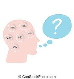 où, concept, words:, comment, six, question, pourquoi, qui, quand, topic, vecteur, questions., quel
