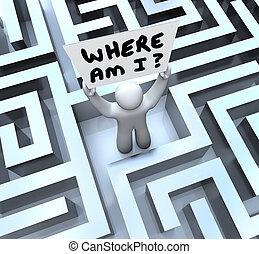 où, est, je, personne, tenue, signe, perdu, dans, labyrinthe