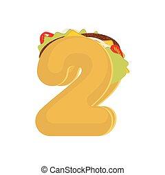 očíslovat 2, tacos., mexičan, hustě food, kropenka, two.,...