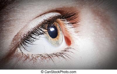 oční bulva, semknout se