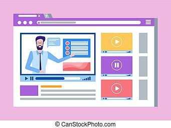 ołów, kursy, video, online, męski nauczyciel, człowiek