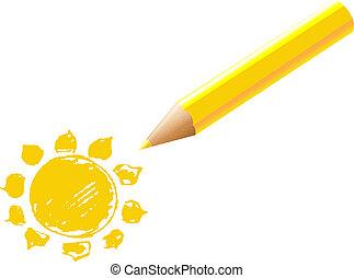 ołówek, żółte słońce