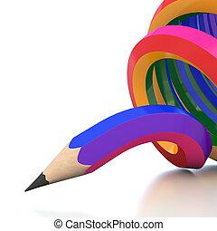 ołówek, abstrakcyjny, ilustracja, tło, kreska, barwa