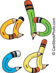 ołówek, alfabet