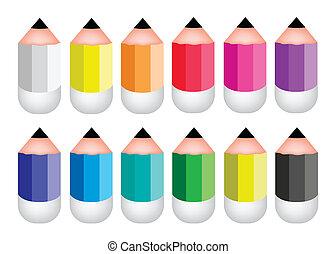 ołówek, barwny, ikony, tło, biały, naostrzony