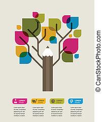ołówek, barwny, przestrzeń, tekst, drzewo, wykształcenie