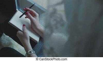 ołówek, co, myślenie, notatnik, pisać, samica