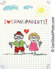 ołówek, dzieciaki, powitanie, razem, ręka, dziadunio, babunia, pociągnięty, karta