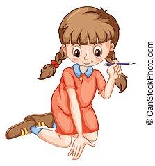 ołówek, dziewczyna, pisanie