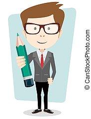 ołówek, etiuda, ilustracja, nauczyciel, wektor, poprawny