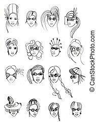 ołówek, głowa, szkic, samica, models-5