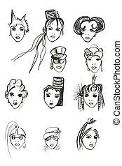 ołówek, głowa, szkic, samica, wzory