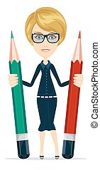 ołówek, kobieta handlowa, ich, dzierżawa wręcza