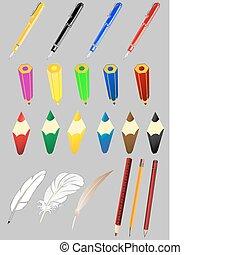ołówek, komplet, rączka, biuro, wektor, pióro, motywy