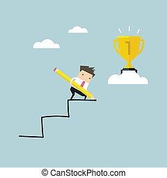 ołówek, korzystać, jego, success., schodek, tworzyć, własny, biznesmen