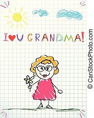 ołówek, kwiat, barwny, ilustracja, ręka, babcia, wektor, dzierżawa, rysunek