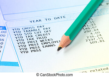 ołówek, lista płac, szczegóły, deklaracja