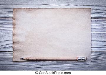 ołówek, listek, drewniany, rocznik wina, bezpośredni, papier deska, czysty, menu